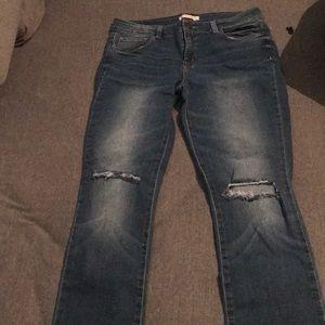 denim distressed knee jeans. Never worn!
